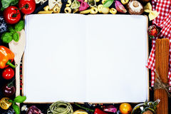 Open Notebook and Fresh Vegetables Background Stock Image
