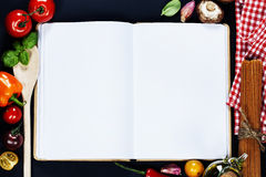Open Notebook and Fresh Vegetables Background Royalty Free Stock Images