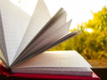 Open notebook on green grass Stock Image