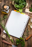 Open notebook with herbs Royalty Free Stock Image