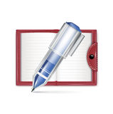 Open notebook icon with pencil isolated Stock Photo