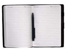 Open notebook isolated on white. Open notebook and pen isolated on white Royalty Free Stock Photo