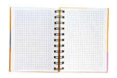 Open notebook isolated on white with clipping path Royalty Free Stock Photography