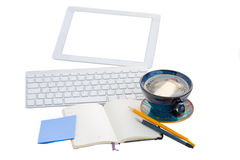Open notebook with key board and tablet Royalty Free Stock Images