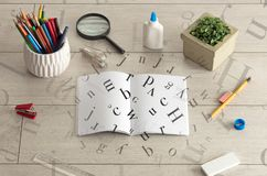 Open notebook with letters on it Stock Photography