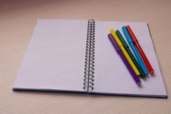 Open notebook with multi-colored markers . On light background.  Stock Photos