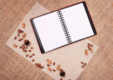 Open notebook with nature elements Stock Photos