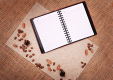 Open notebook with nature elements Stock Photo