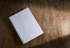 Free Open Notebook On Wooden Background. Stock Photos - 152935783