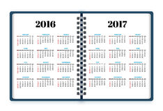 Open notebook paper with calendars for 2016, 2017 years vector. Background Royalty Free Stock Photography