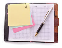 Open notebook and pen Royalty Free Stock Photo