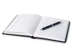 Open notebook with pen Stock Photography