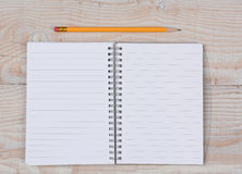 Open Notebook and Pencil Stock Images