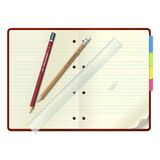 An open notebook with pencils and  ruler Stock Image