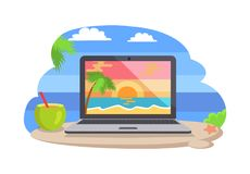 Open Notebook Picture of Tropical Sunset Coastline. Open notebook picture of tropical sunset at coastline, stand on beach near cocktail. Distant freelance work vector illustration