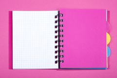 Open notebook with pink bookmark. On a pink background Stock Photography