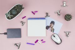 Open notebook, purple pen, mouse, succulents, photo, paper clips, lego stock photos