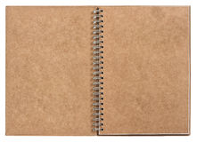 Open notebook with ring binder. recycled craft paper Stock Photo