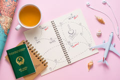 Open notebook with the route for your summer vacation Royalty Free Stock Photo