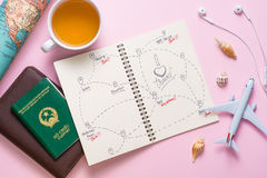 Open notebook with the route for your summer vacation Royalty Free Stock Images