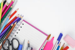 Open notebook and school or office tools on white background Stock Photo