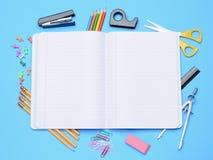 Open Notebook With School Supplies Stock Photos