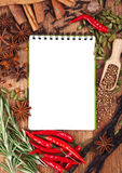 Open notebook with spices and herbs Royalty Free Stock Photos