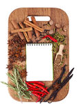 Open notebook with spices and herbs Royalty Free Stock Image