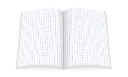 Open notebook with square paper pages isolated on white, top vie. W, 3d illustration royalty free illustration