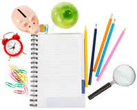 Open notebook with stationery and magnifier Stock Image