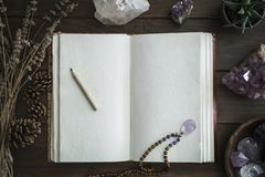 Open Notebook Surrounded by Crystals Plants and Foliage stock photo