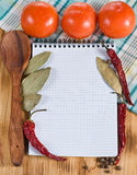 Open notebook with vegetables Stock Photo