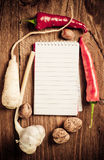 Open notebook with vegetables Royalty Free Stock Photography