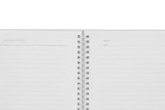 Open notebook on white background Stock Images