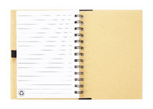 Open notebook with white lined pages isolated on white backgroun Royalty Free Stock Photography
