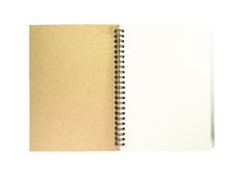 Open notebook with white page. Open notebook with white page on white background royalty free stock photos