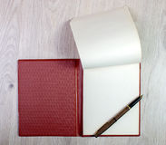 Open Notebook With White Pages And Gold Fountain Pen Stock Images