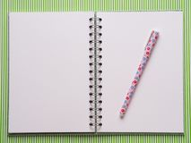 Open notebook with white pages. Open notebook with white blank pages. Flat lay on green Royalty Free Stock Images