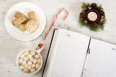 Open notebook with  winter festive ornaments Stock Photography