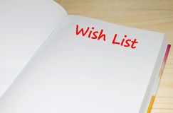 Open notebook with Wish List message Royalty Free Stock Photos