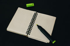 Open notebook for work. Open notebook with white sheets on the table Royalty Free Stock Photography