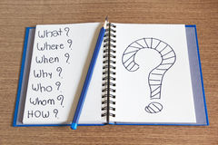 Open Notebook writing question mark on it Royalty Free Stock Images