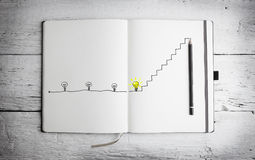 Open notepad with with concept of idea Royalty Free Stock Photos