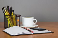 Open notepad, office accessories in support the Stock Photos