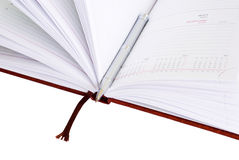 Open notepad with a pen, isolated Stock Image