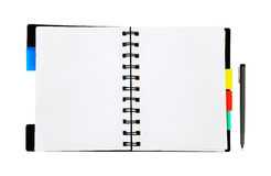 Open notepad and pen on white background Stock Images