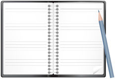 Open notepad with pencil Royalty Free Stock Photos
