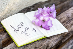 Open Notepad with pink gladiolus on a wooden   background Royalty Free Stock Photos