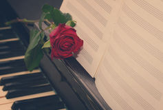 Open  notes paper on piano. Open empty notes paper with red rose   on vintage piano, retro toned Royalty Free Stock Photography
