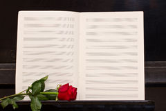 Open  notes paper with red rose Royalty Free Stock Image